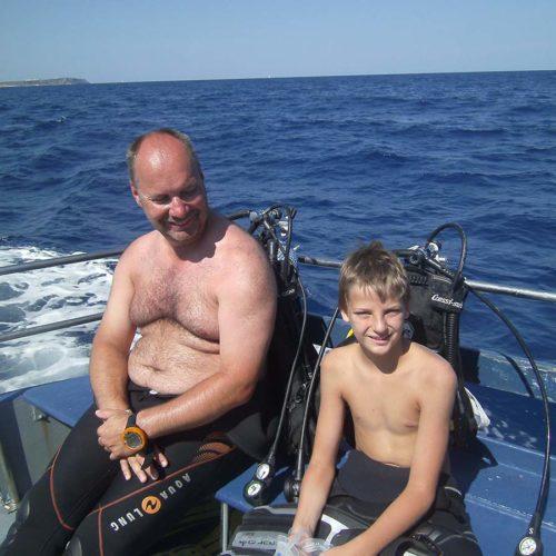 Inmersion Salgar Menorca en barco